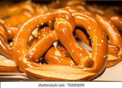 A piece of pretzel on a bakery shelf
