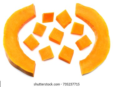 piece of pumpkin isolated on white background top view