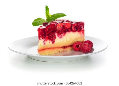 Piece of raspberries cake on plate isolated