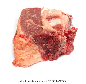 piece of raw meat on white background