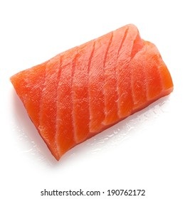 piece of red fish isolated on white background