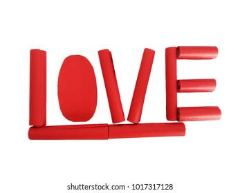 Piece of red paper on white background. Design word of Love by red paper for valentine's day concept.