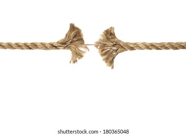 Piece of rope frayed about to break on white background