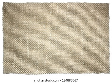Piece of sacking fabric isolated on white background