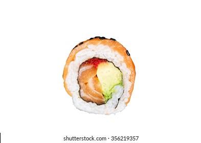 Piece salmon sushi isolated on white background