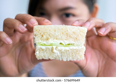 A piece of sandwich in Delicous Afternoon Tea Set