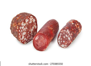 Piece of sausage isolated on white background