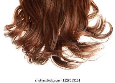 piece of short brunette brown hair isolated