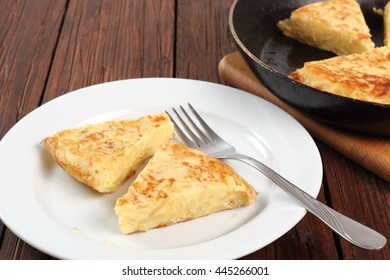 Piece of Spanish omelette on plate