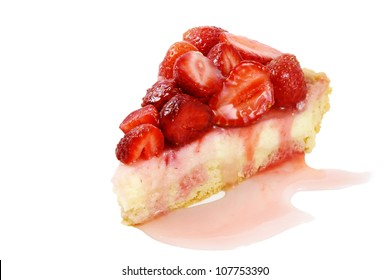 A piece of strawberry cheesecake poured sauce
