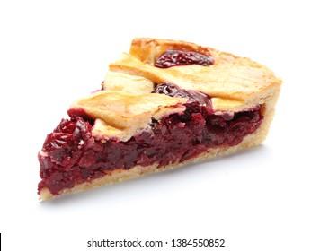 Piece of tasty cherry pie on white background