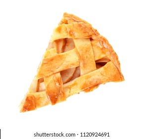 Piece of tasty homemade apple pie on white background