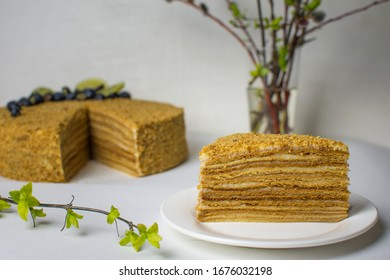 Piece of tasty, homemade honey cake on white plate and rest of the cake and thriving spring branches in background, Latvia