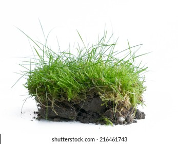 Piece of turf with topsoil in the spring when the garden work begins, isolated against a white background