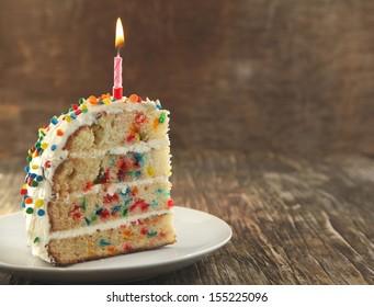Piece of Vanilla Sprinkles Cake