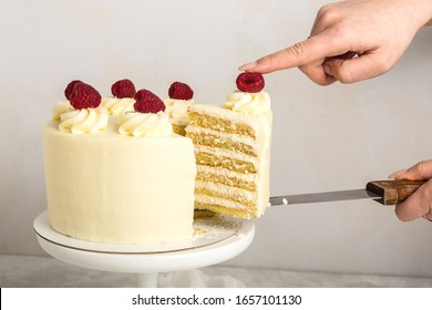 A piece of white cake with cream and raspberry , in a woman's hand, on a metal spatula, grey background.Selective focus.