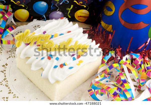 Fantastic Piece White Cake Happy Birthday Message Stock Photo Edit Now Funny Birthday Cards Online Eattedamsfinfo