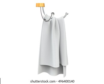 Piece of white cloth on a ordinary cloth hanger - side view - 3D Render