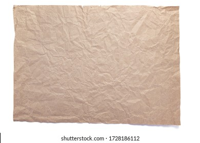 piece of wrinkled or crumpled paper texture isolated on white background