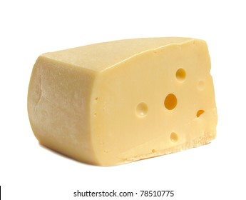 piece of yellow cheese on white background