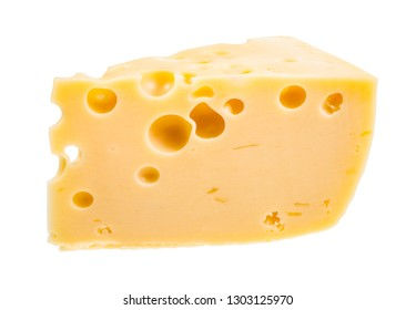 piece of yellow semi-hard cow's milk swiss cheese with internal holes isolated on white background