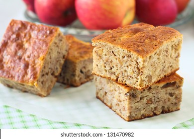 Pieces of an apple cake on a baking paper