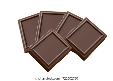 Pieces of bitter Chocolate isolated on a white background. Dessert with flavonoids. Sweetest Day.