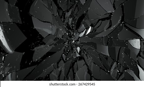 Pieces of broken or cracked glass on black. Large resolution