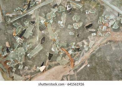 Pieces of broken glass