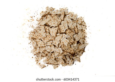 Pieces of broken matza - Top view - Traditional kosher bread for Passover