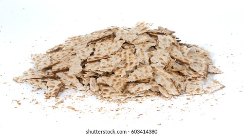 Pieces of broken matza - Traditional kosher bread for Passover