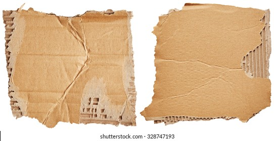 Pieces of cardboard isolated on white background