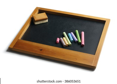 pieces chalk on slate duster isolated stock photo edit now