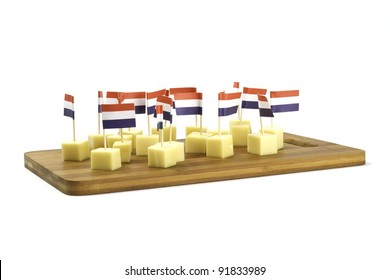pieces of cheese with banners