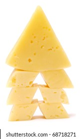 pieces of cheese isolated on white