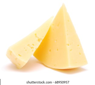 pieces of cheese isolated on white (series)