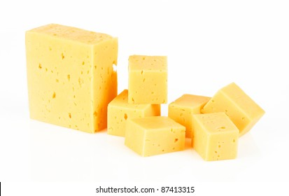 Pieces of Cheese isolated on a white background. With Clipping Path.