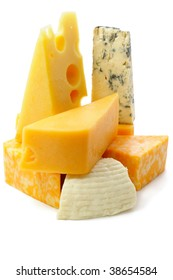 Pieces of cheese on white background