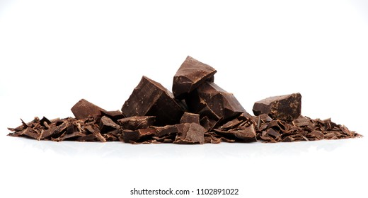 pieces chocolate on a white background