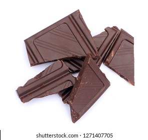pieces of chocolate on white background