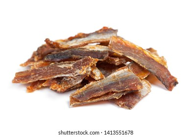 Pieces of cleaned dried fish isolated on white (Dry Peppered Pollack)