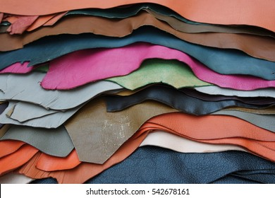 Pieces of colorful leather