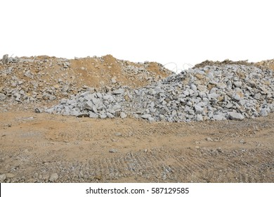 pieces of concrete and brick rubble debris on construction site isolated on white