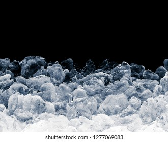 Pieces of crushed ice cubes on black background. Including clipping path.