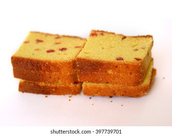 Pieces of Dessert cake on a on a white background