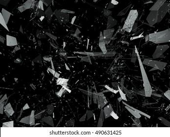Pieces of destructed Shattered glass on black. 3d rendering 3d illustration
