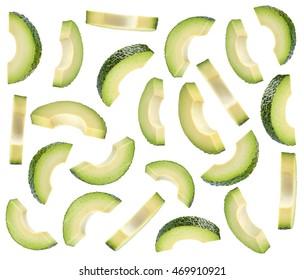 Pieces of fresh avocado isolated on white