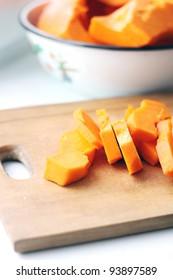 pieces of fresh raw pumpkin