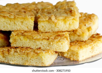 pieces of German butter cake with almonds