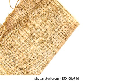 pieces of gunny sack with isolated white background